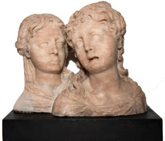 Pair of Female Busts In Alabaster, Southern Netherlands Circa 1550