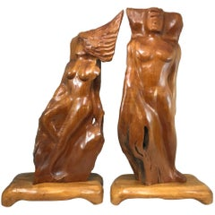 Pair of Figural Koa Wood Sculptures
