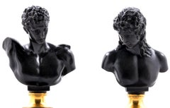 Pair of German Bronze and Onyx of Grand Tour Busts of Hermes and Ariadn
