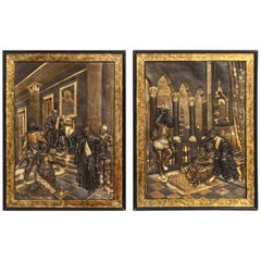 Pair of Gilt and Patinated Bronze Relief Plaques Depicting Shakespeare, Othello