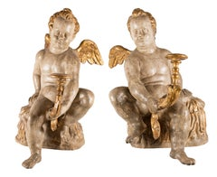 Pair of Italian Angels Sculptures, Italy 18th Century, Papier-mâché Lacquered