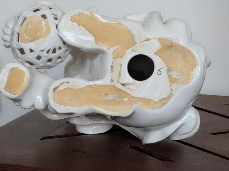 Pair of Italian White Ceramic Foo Dogs - Gray Figurative Sculpture by Unknown