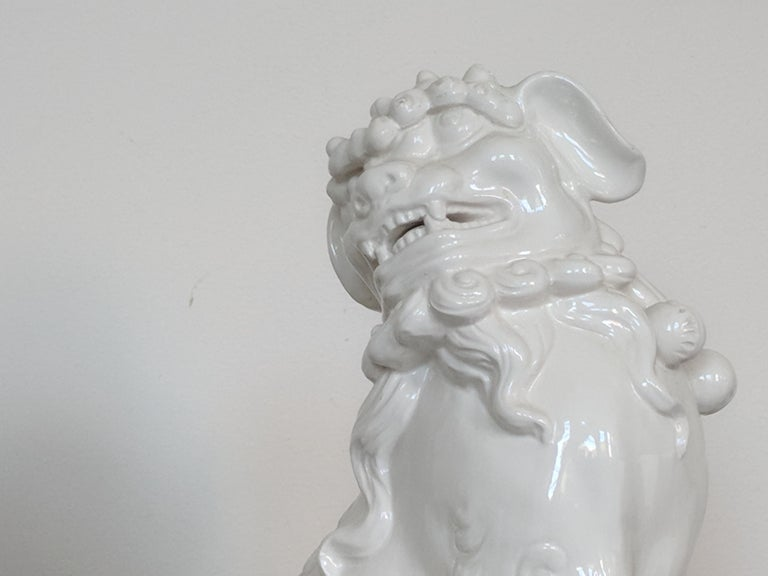 Pair of Italian White Ceramic Foo Dogs 1
