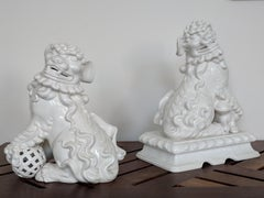 Pair of Italian White Ceramic Foo Dogs