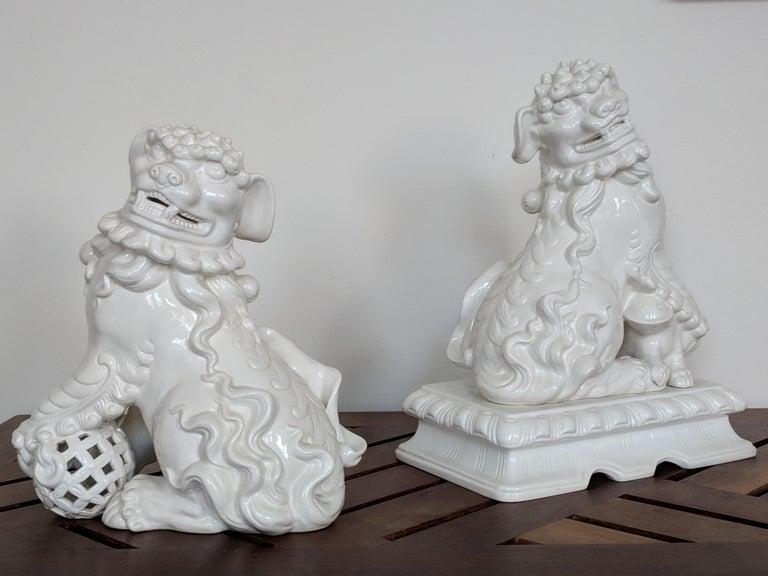 Unknown Figurative Sculpture - Pair of Italian White Ceramic Foo Dogs