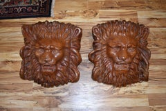 Pair of Lion Head Architectural Sculptures