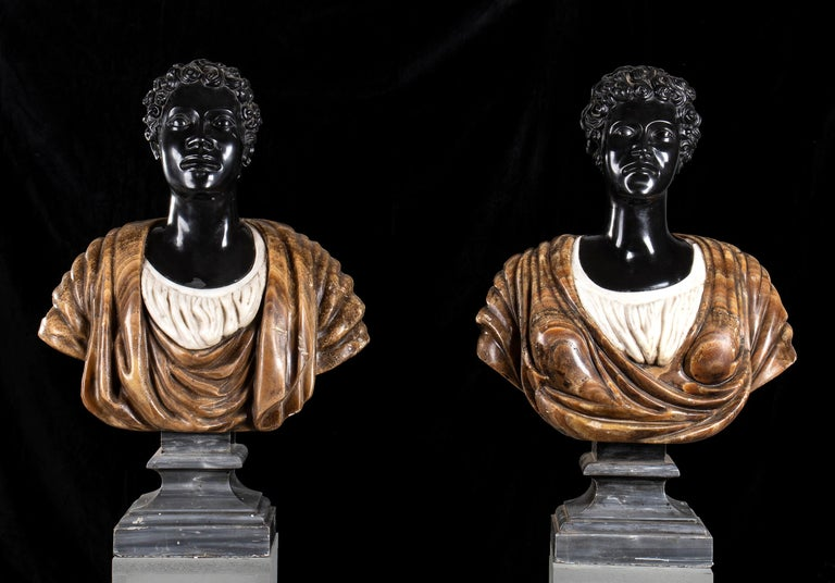 Pair of Marble Polychromy Figurative Sculptures Busts of Moors Italian 19th  For Sale 1