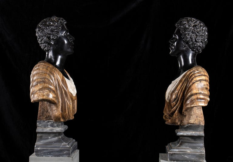 Pair of Marble Polychromy Figurative Sculptures Busts of Moors Italian 19th  For Sale 2