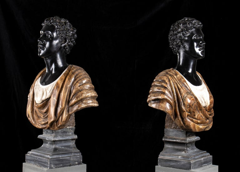Pair of Marble Polychromy Figurative Sculptures Busts of Moors Italian 19th  For Sale 5