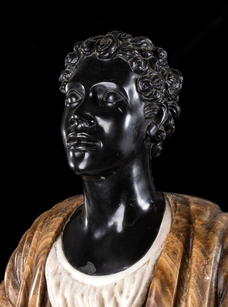 Pair of Marble Polychromy Figurative Sculptures Busts of Moors Italian 19th  For Sale 6