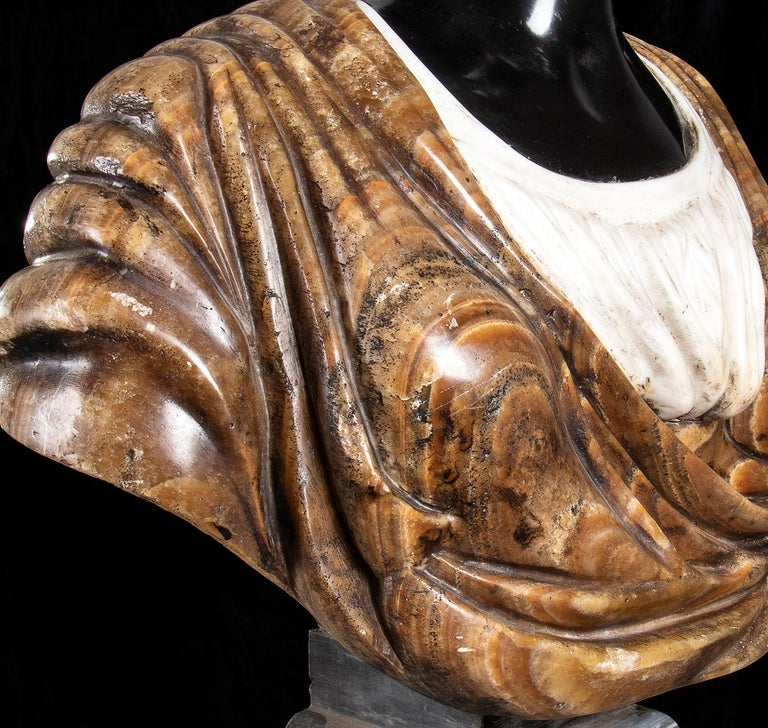 Pair of Marble Polychromy Figurative Sculptures Busts of Moors Italian 19th  For Sale 8