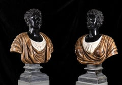 Pair of Marble Polychromy Figurative Sculptures Busts of Moors Italian 19th