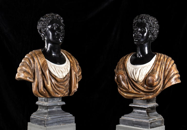 An impressive pair of busts of Moors carved in polychromy marble as from the Venetian school with the use of important and specimen marbles. Modelled as a male and female maybe a couple of notable moors merchant, active and usual at Venice when the