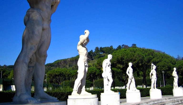 Pair of Monumental Marble Italian Figurative Nude Sculptures For Sale 17