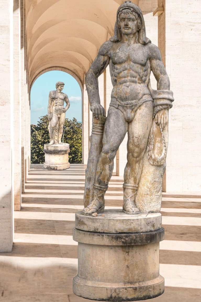 Pair of Monumental Marble Italian Figurative Nude Sculptures For Sale 18