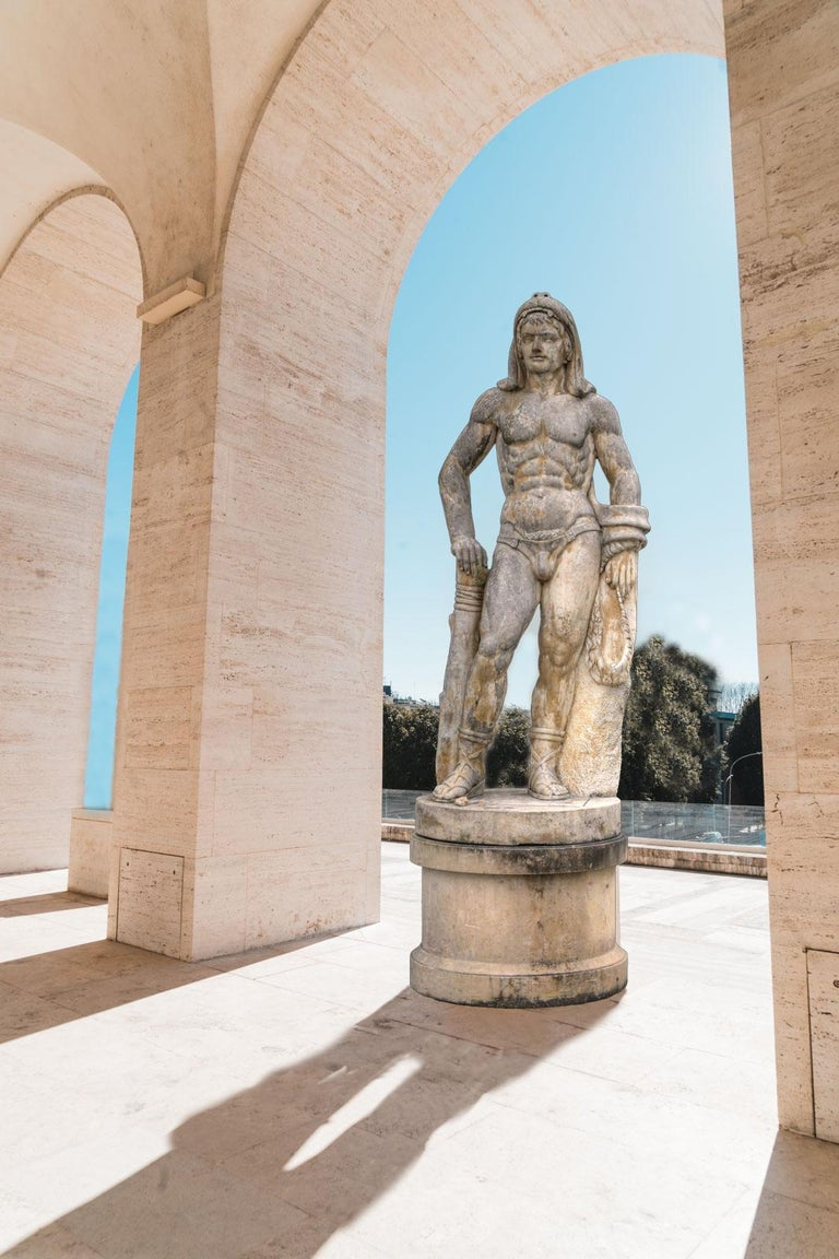 Pair of Monumental Marble Italian Figurative Nude Sculptures For Sale 1
