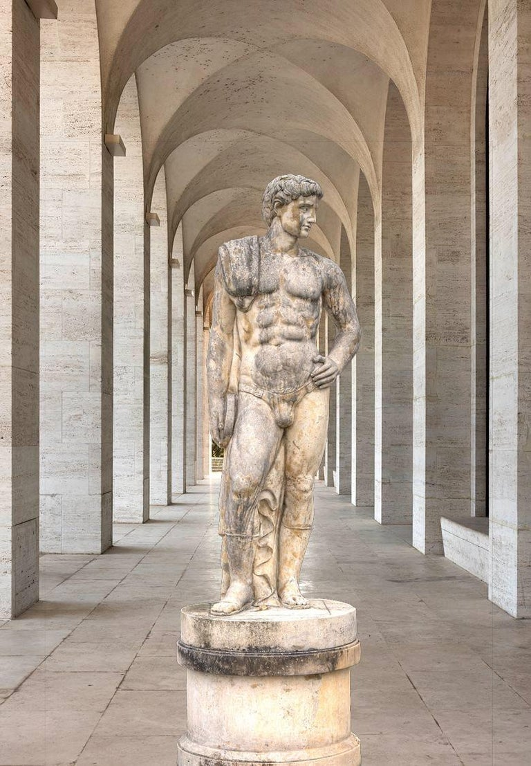 Pair of Monumental Marble Italian Figurative Nude Sculptures For Sale 2