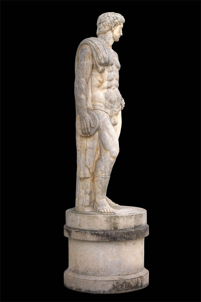 Pair of Monumental Marble Italian Figurative Nude Sculptures For Sale 8