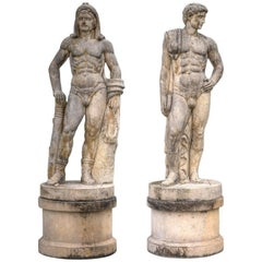 Pair of Monumental Marble Italian Figurative Nude Sculptures