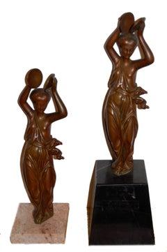 Pair of orientalist sculptures; bronze