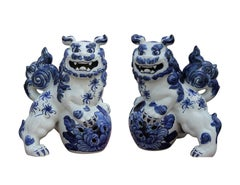 Pair of Porcelain Japanese Blue Foo Dogs