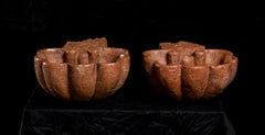 Pair of Red Marble Sculptures of Shells as Holy Water Font or Supports 19th Cent