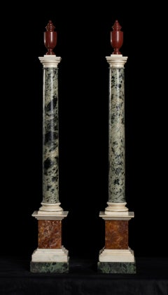Pair of Roman Marble Red, Green, Onyx and White Models of Pedestals Grand Tour