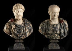 Pair Of Sculpture Busts of Roman Emperors in Breccia Marble and Statuary Marble