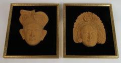 Pair of  Wood Figural Carvings Mounted in Frames