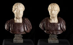 Pair Red Porphyry and White Marble Sculpture Busts Of Roman Emperors Grand Tour