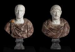 Pair Roman Italian Marble Sculpture Busts of Julius Caesar and Emperor Hadrian