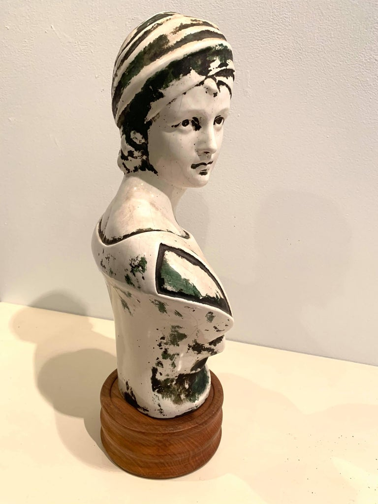 Patinated Plaster European Art Nouveau Bust For Sale 1