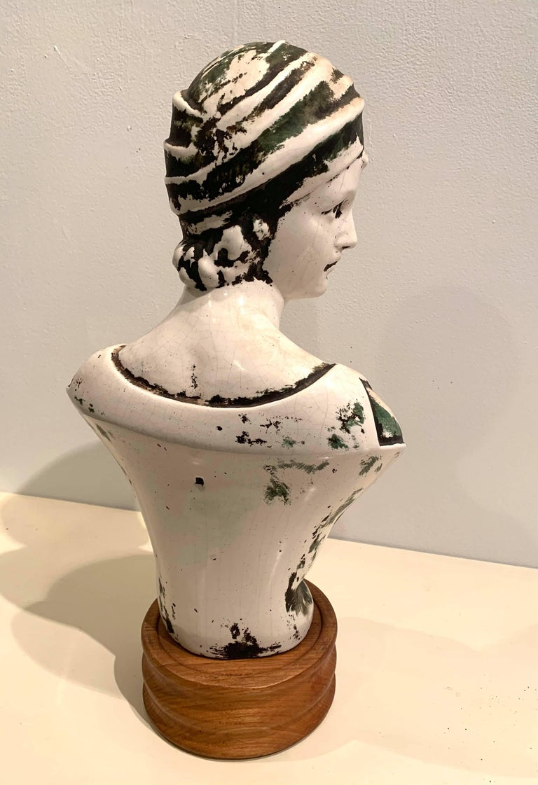 Patinated Plaster European Art Nouveau Bust For Sale 5