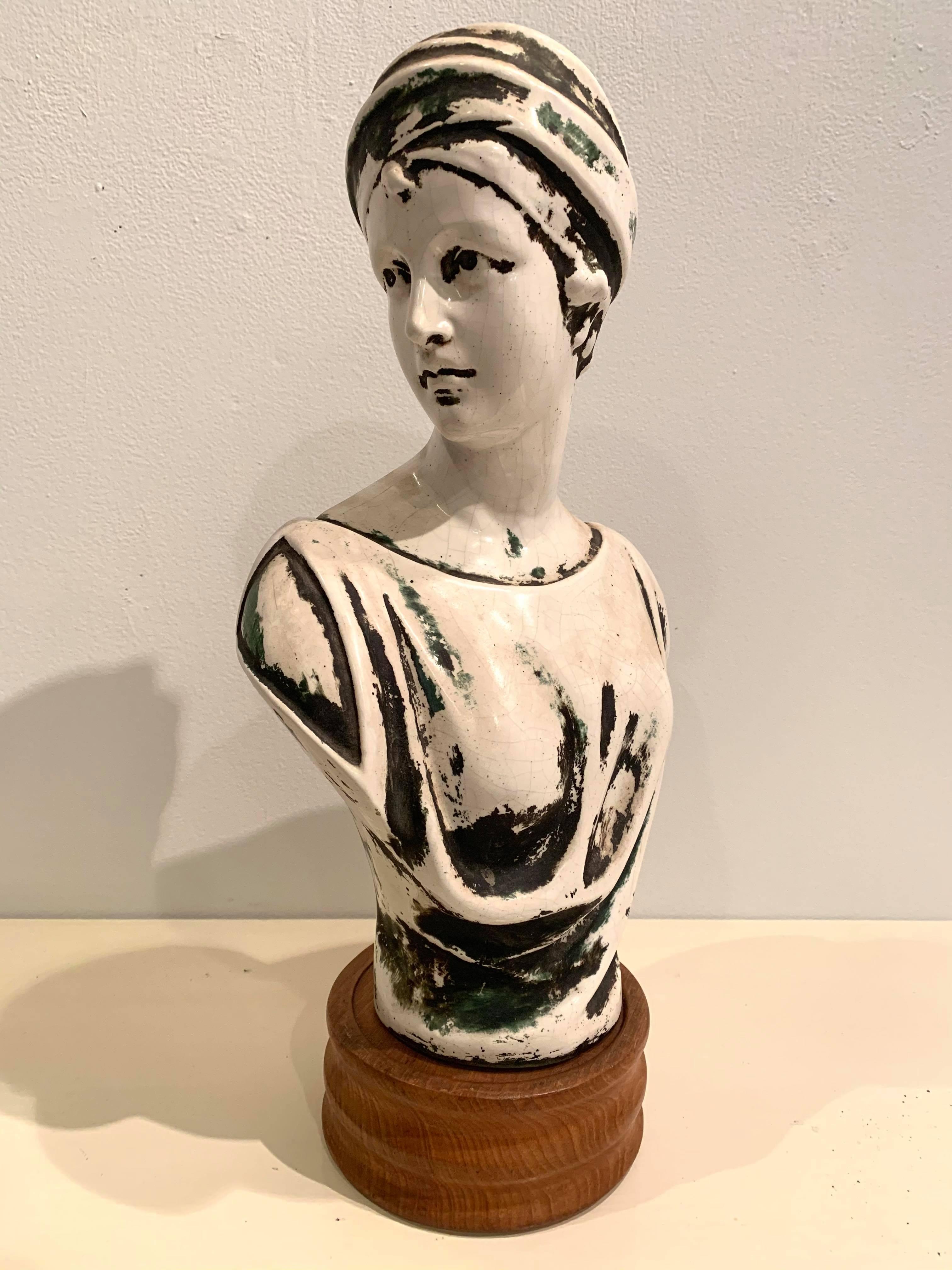 Patinated Plaster European Art Nouveau Bust