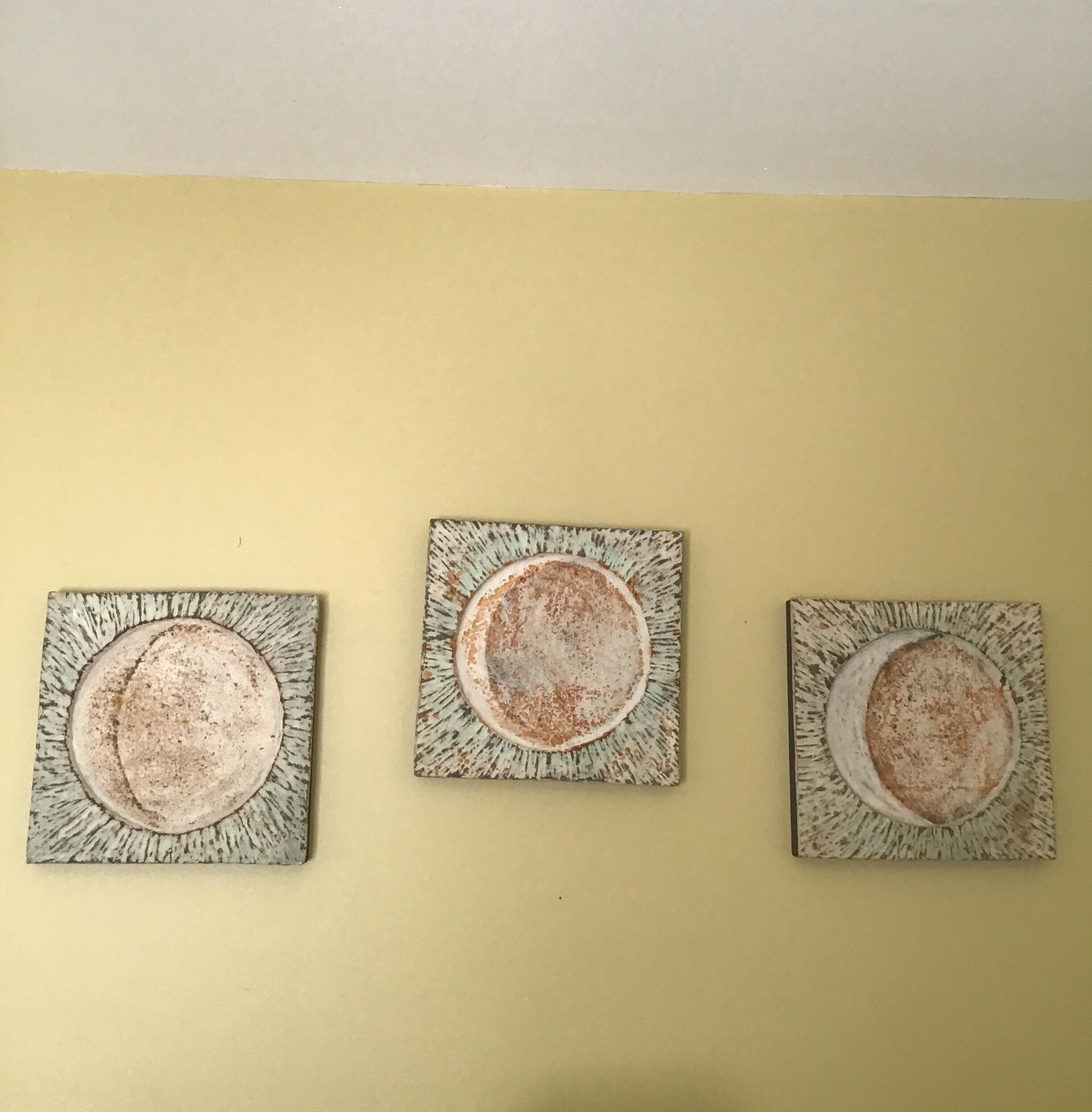 Japanese Triptych Wall Sculpture Phases of the Moon
