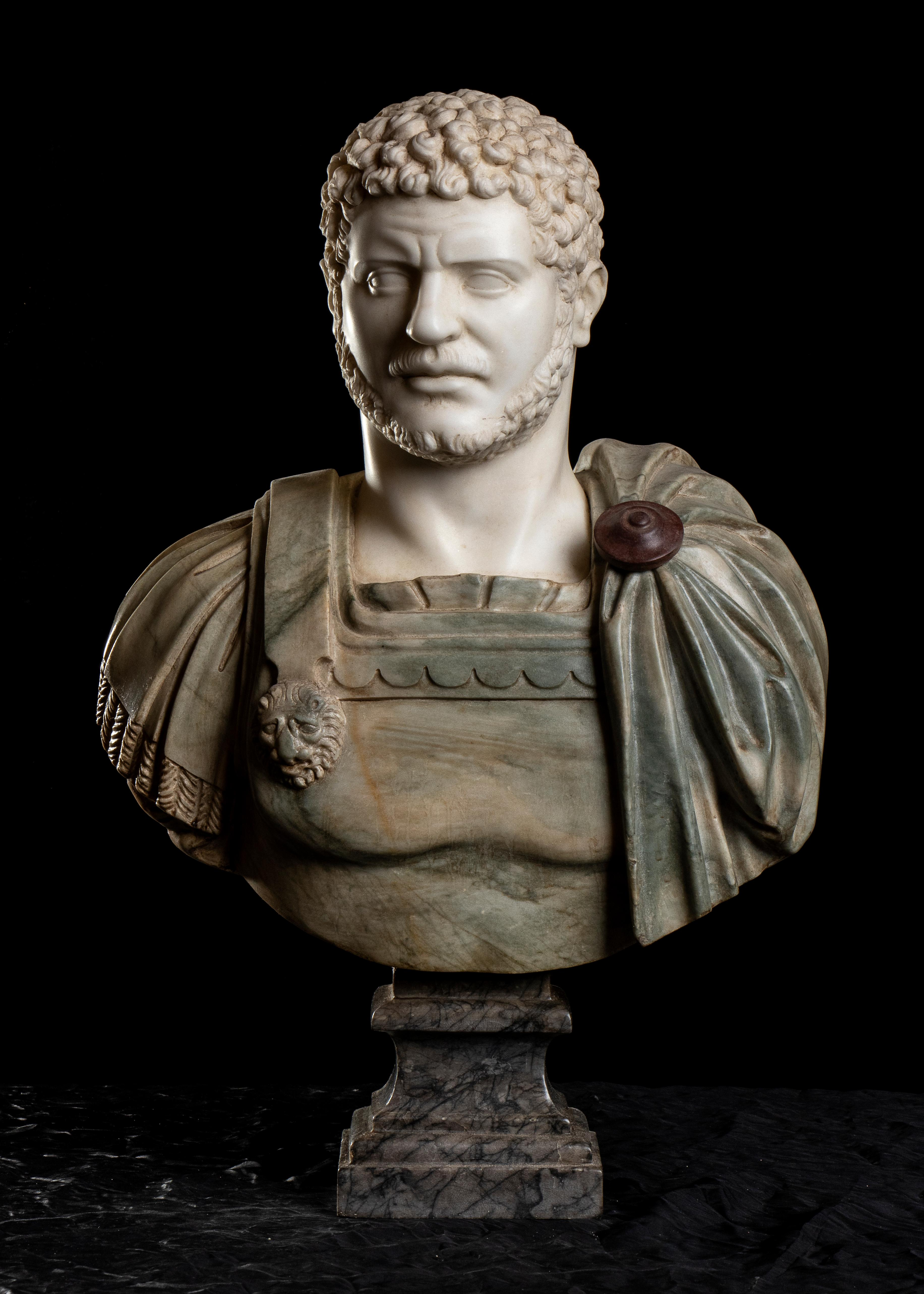 Polychrome Marble Sculpture Bust Emperor Caracalla After The Antique Grand Tour