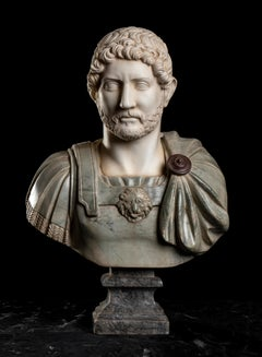 Polychrome Marble Sculpture Bust Of Emperor Hadrian After The Antique Grand Tour
