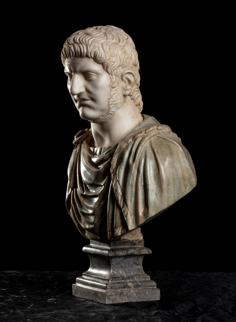 Polychrome Marble Sculpture Bust Of Emperor Nero After The Antique Grand Tour For Sale 7