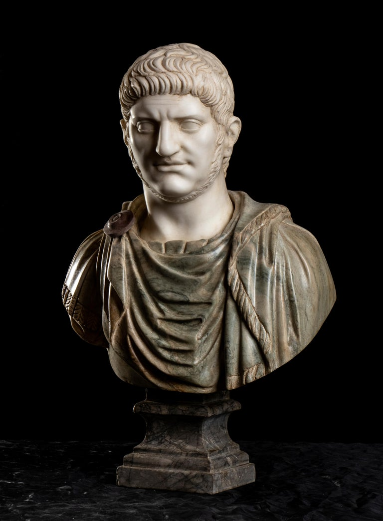 Polychrome Marble Sculpture Bust Of Emperor Nero After The Antique Grand Tour For Sale 8