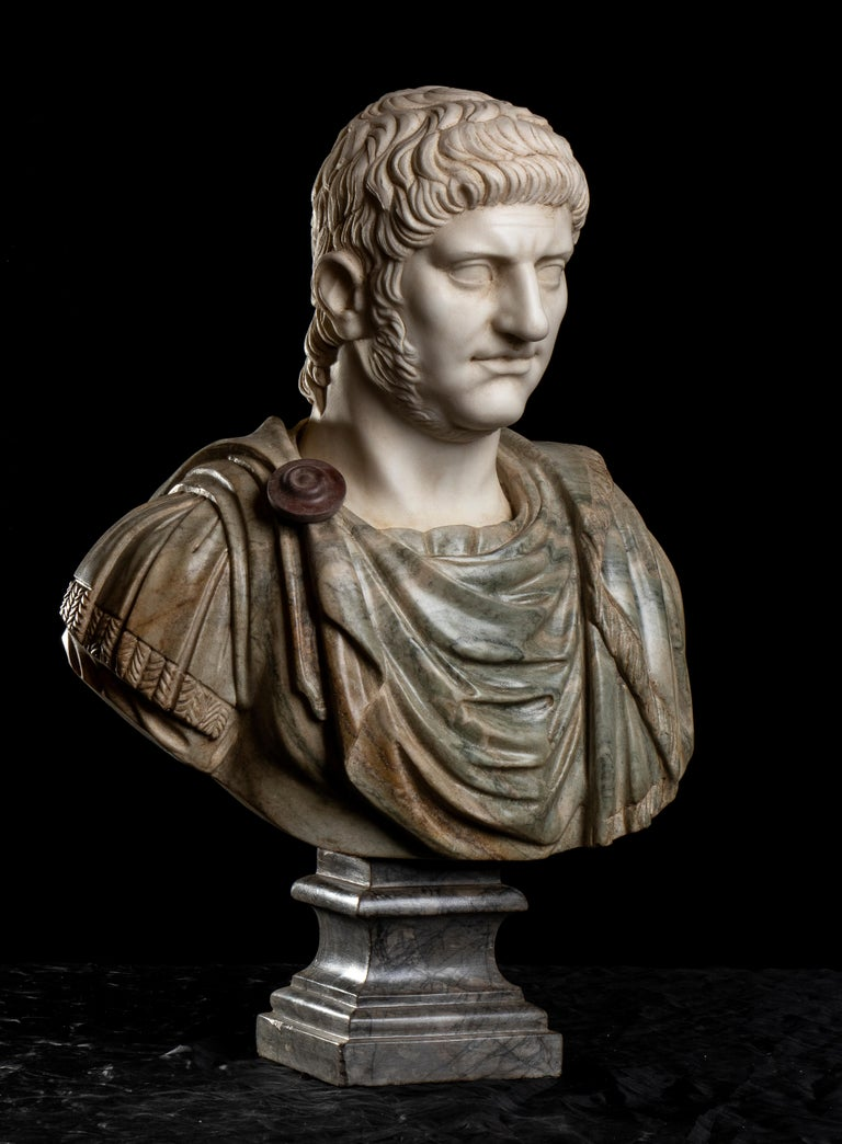 Polychrome Marble Sculpture Bust Of Emperor Nero After The Antique Grand Tour - Black Nude Sculpture by Unknown