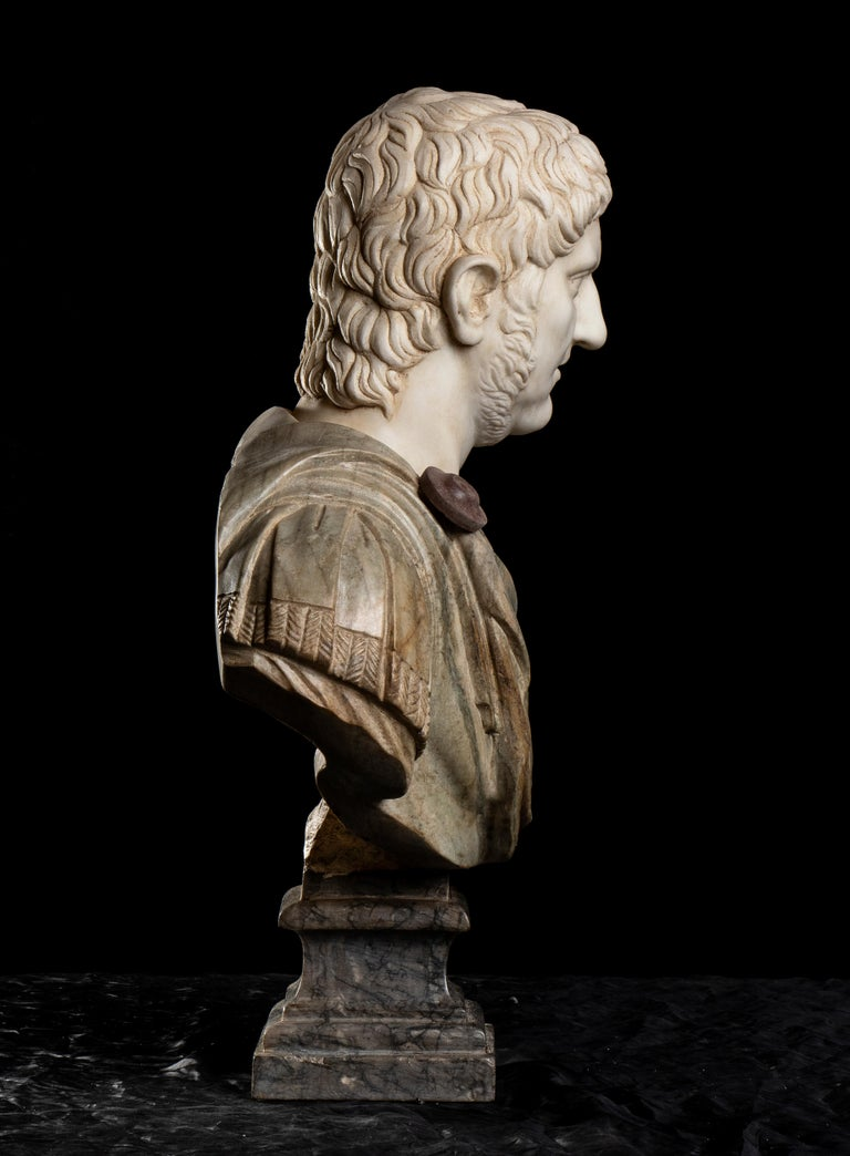 Polychrome Marble Sculpture Bust Of Emperor Nero After The Antique Grand Tour For Sale 1