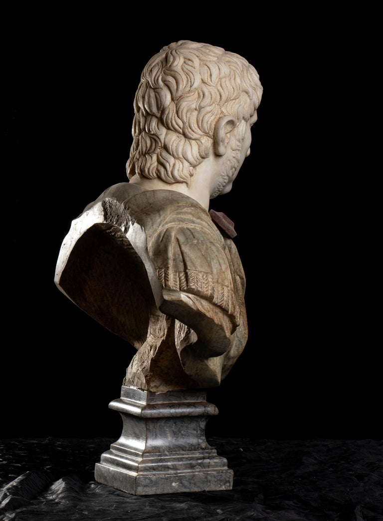 Polychrome Marble Sculpture Bust Of Emperor Nero After The Antique Grand Tour For Sale 2