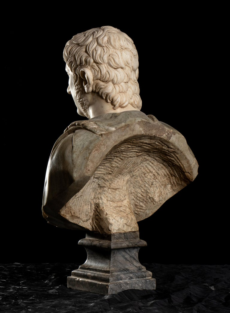 Polychrome Marble Sculpture Bust Of Emperor Nero After The Antique Grand Tour For Sale 5