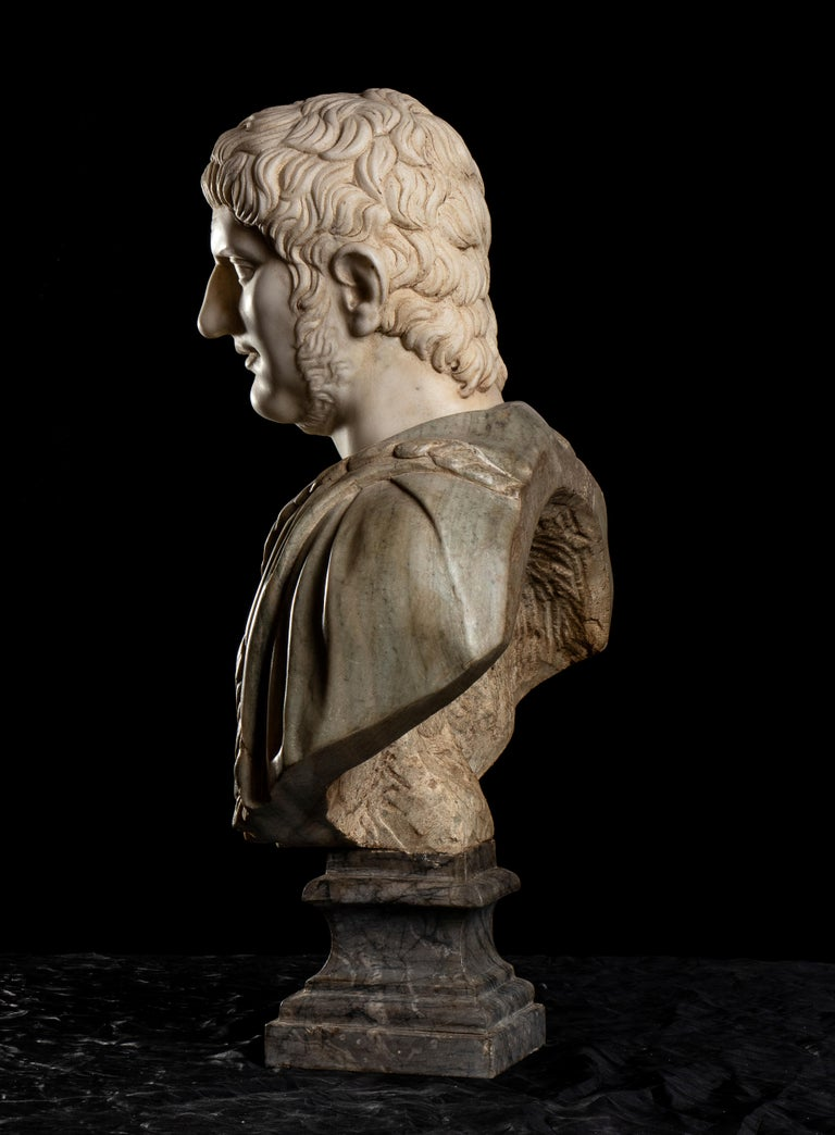 Polychrome Marble Sculpture Bust Of Emperor Nero After The Antique Grand Tour For Sale 6