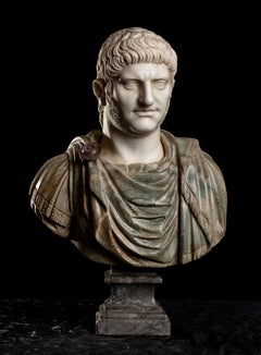 Polychrome Marble Sculpture Bust Of Emperor Nero After The Antique Grand Tour