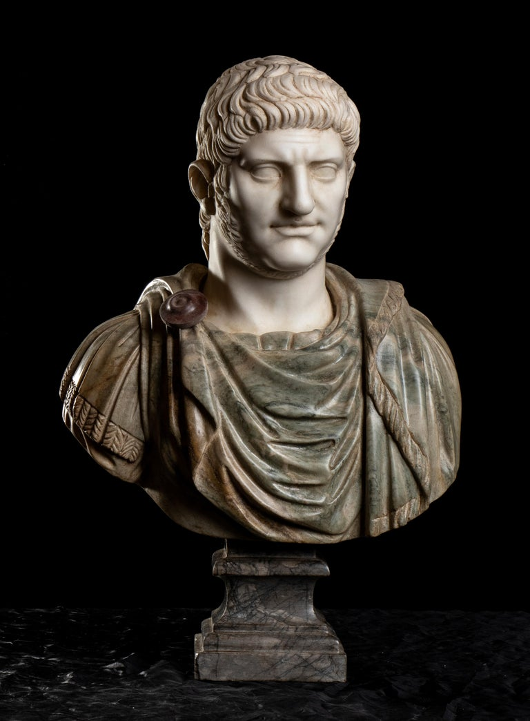 Unknown Nude Sculpture - Polychrome Marble Sculpture Bust Of Emperor Nero After The Antique Grand Tour