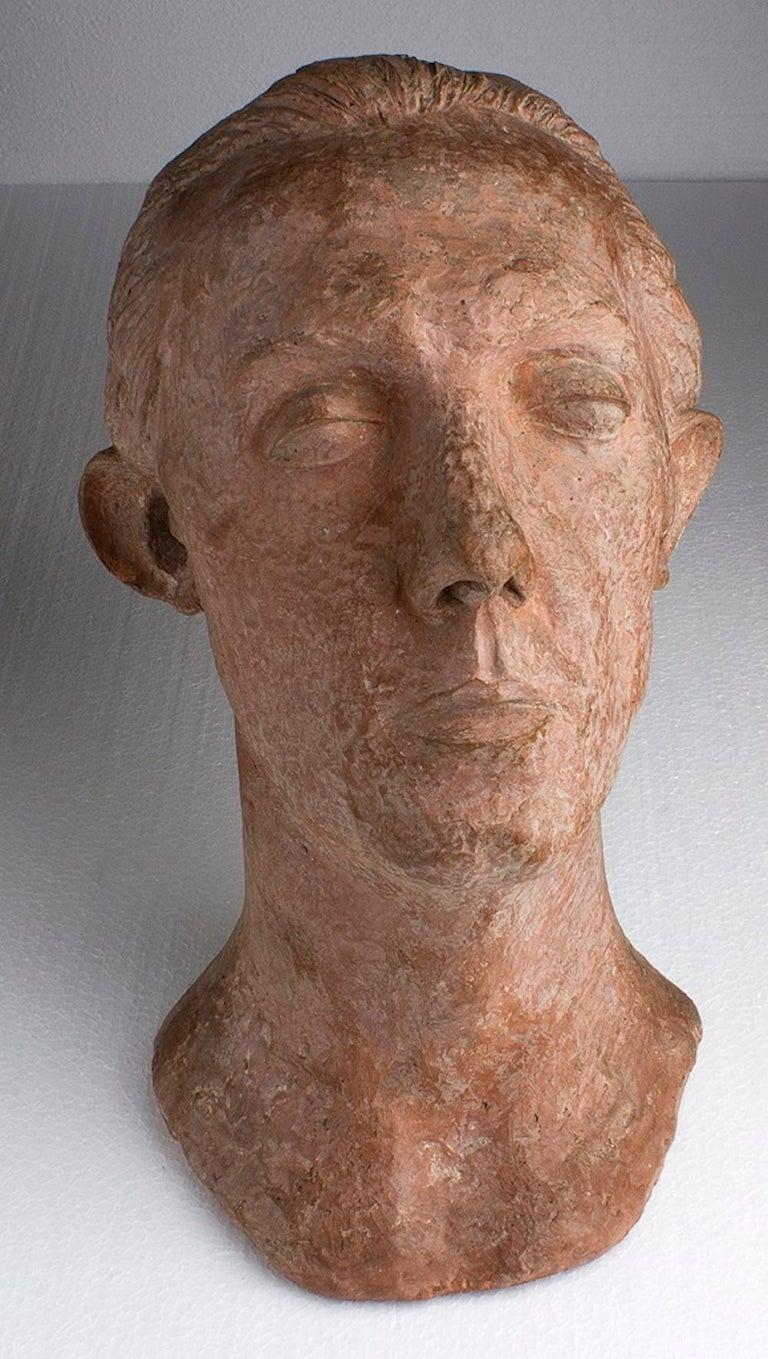 Unknown Figurative Sculpture - Portrait of a Man - Terracotta Sculpture - Mid 1900