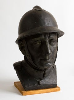 Portrait of a Soldier of the 1st World War  - Bronze Sculpture - Early 1900