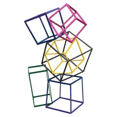Post Modern Abstract Colorful Geometric Stacked Squares Sculpture