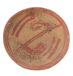 """Pre-Columbian Bowl (repaired),"" Red & Brown Painted Ceramic"